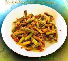 Crunchy spicy sesame toasted asparagus